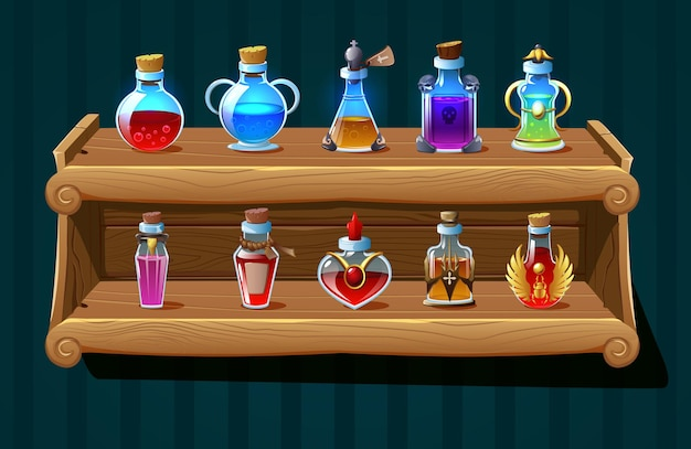 Realistic bottles with magic potions and poison on wooden shelf