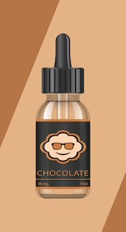 Realistic bottles  with tastes for an electronic cigarette with different fruit flavors. dropper bottle with liquid for vape. the taste of chocolate.