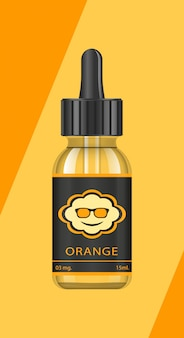 Realistic bottles  with tastes for an electronic cigarette with different fruit flavors. dropper bottle with liquid for vape. the taste of orange.