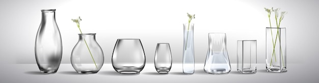 Realistic bouquet of flowers in a glass of water empty glass vase realistic mockup