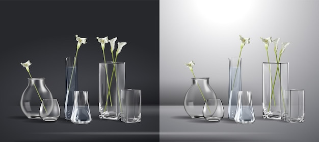 Realistic bouquet of flowers in a glass of water