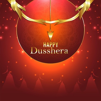 Realistic bow for happy dussehra indian festival celebration background