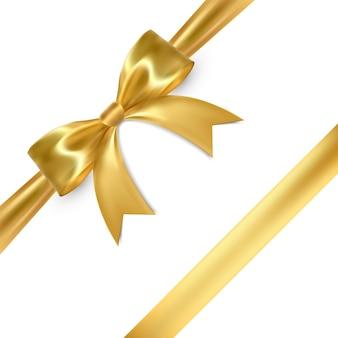 Реалистичный лук на белом фоне. золотые подарочные банты для открыток, презентаций, иллюстраций ко дню святого валентина, рождеству и дню рождения.