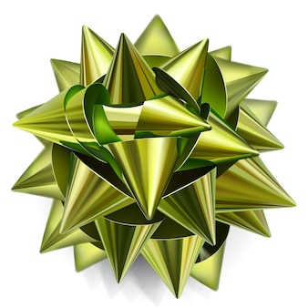 Realistic bow made of shiny green and gold ribbon