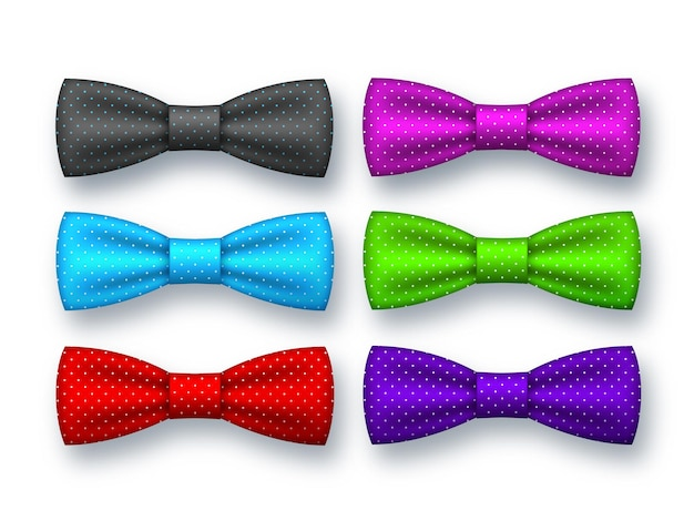 Realistic bow tie collection.