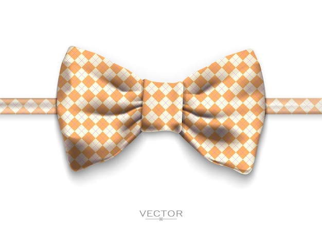 Реалистичный галстук-бабочка, векторные иллюстрации, изолированные на белом фоне