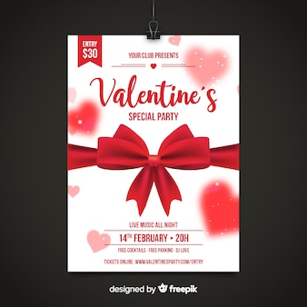 Realistic bow valentine party poster