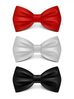 Realistic bows isolated - classic bow tie set