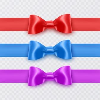 Реалистичные банты фиолетово-синего и красного цветов для украшения подарочных коробок для открыток