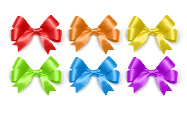 Реалистичные банты фиолетового синего желтого и зеленого цветов для оформления подарочных коробок открытками
