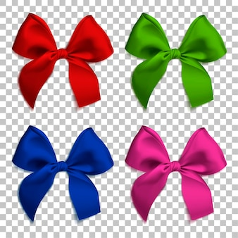Realistic bows and ribbon isolated on transparent background