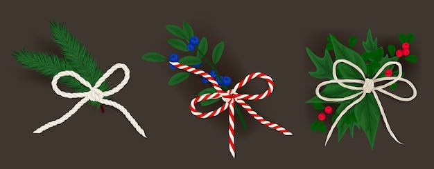 Realistic bows and small christmas branches