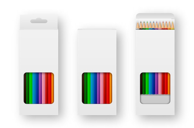 Realistic box of colored pencils icon set closeup isolated on white background.