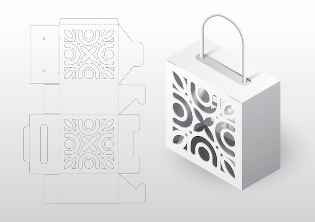 Реалистичная упаковка коробки высечки шаблон