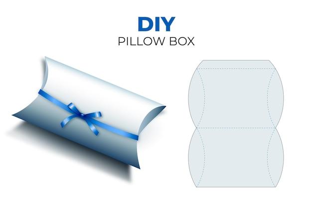 Realistic box packaging die cut template