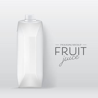 現実的なボックスベクトル。ブランディングデザインミルク、フルーツジュースドリンクパッケージテンプレート