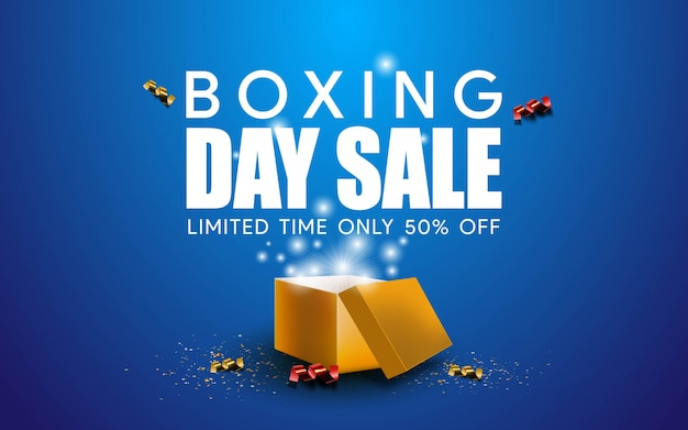 Realistic boxing day sale background