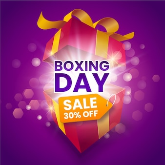 Realistic boxing day sale banner
