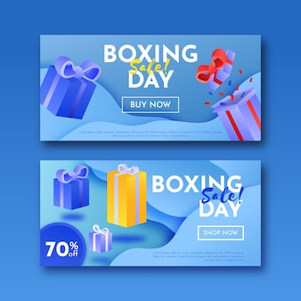 Realistic boxing day sale banners template