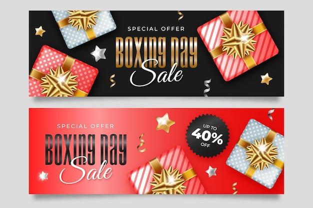 Modello di banner di vendita realistico giorno di boxe