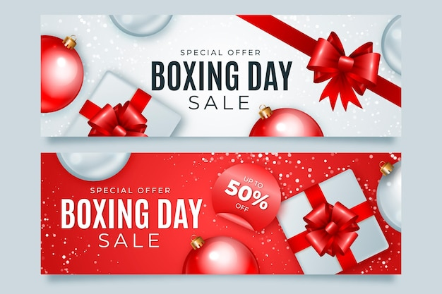 Реалистичный шаблон баннеров для продажи дня бокса