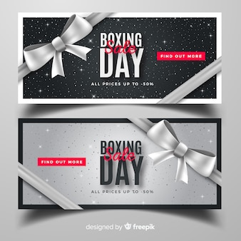 Realistic boxing day sale banners