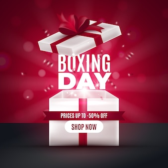 Realistic boxing day sale concept