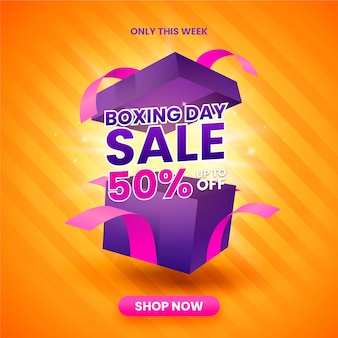 Realistic boxing day sale illustration