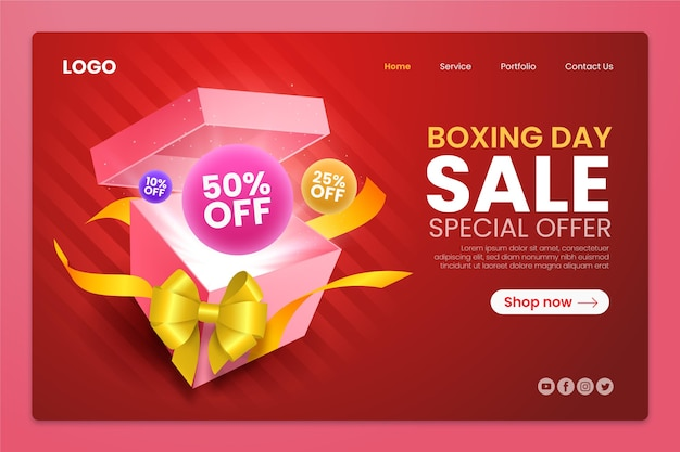 Realistic boxing day sale landing page template