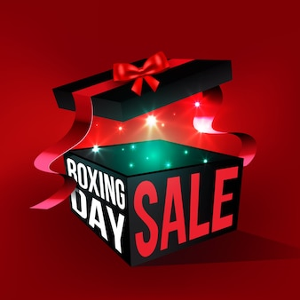 Realistic boxing day sale with open gift box