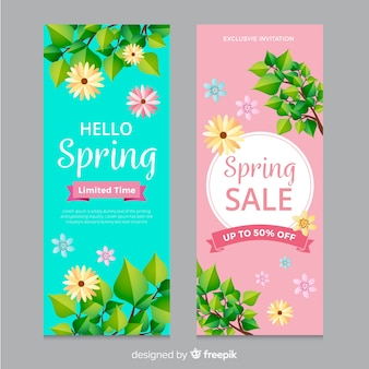 Realistic branches spring sale poster