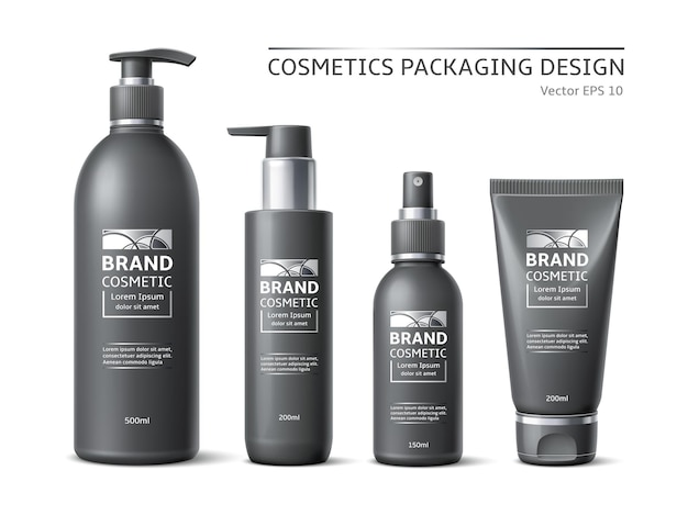 Realistic brand cosmetic bottles. minimalist labeled black containers design, beauty products packages, pumps and spray mockups. vector set