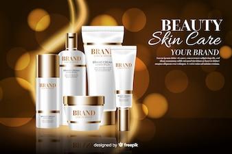 Realistic brand cream background