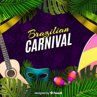 Realistic brazilian carnival background