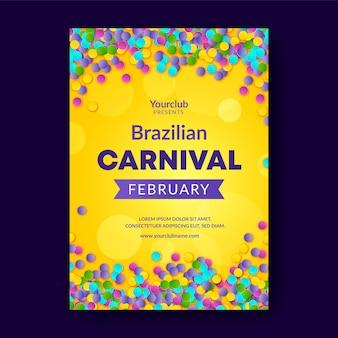 Realistic brazilian carnival flyer template