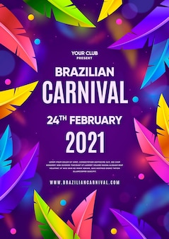 Modello realistico di volantino di carnevale brasiliano