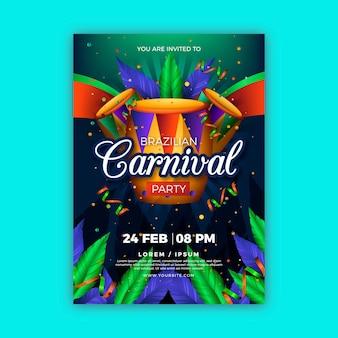 Реалистичный шаблон флаера бразильского карнавала