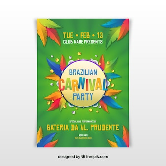 Realistic brazilian carnival party flyer/poster