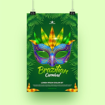 Realistic brazilian carnival poster theme for template