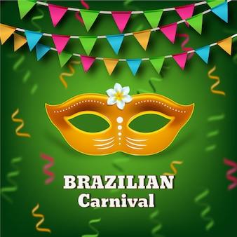Realistic brazilian carnival theme with mask