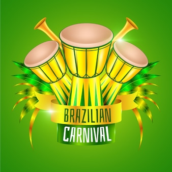 Realistic brazilian carnival with drums