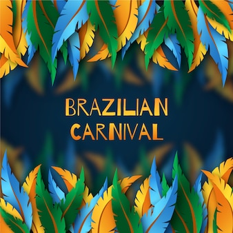 Realistic brazilian carnival with feathers theme