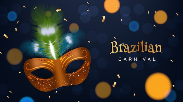 Realistic brazilian carnival with mask and bokeh effect