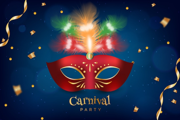 Realistic brazilian carnival with red mask and ribbons
