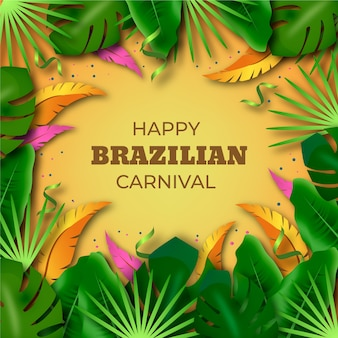 Realistic brazilian carnival with tropical leaves