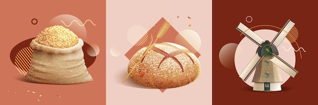 Realistic bread production set illustration