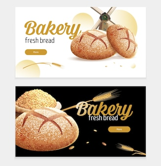 Realistic bread set of two horizontal banners illustration