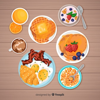 Realistic breakfast collection