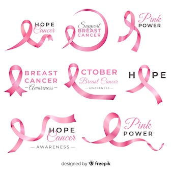 Realistic breast cancer awareness badge collection