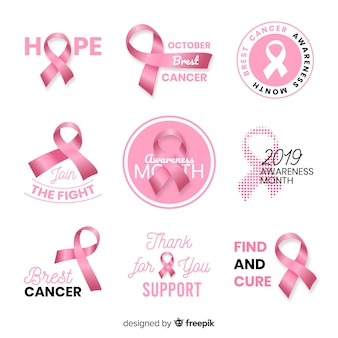 Realistic breast cancer awareness collection